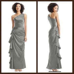 Steel Gray, Azazie bridesmaid dress.
